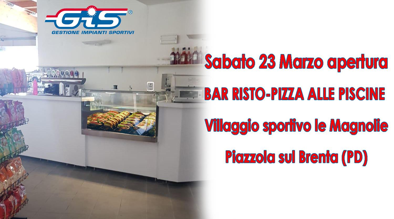 """Piscina Piazzola Sul Brenta sabato 23 marzo 2019 apre il nuovo bar risto-pizza """"alle"""